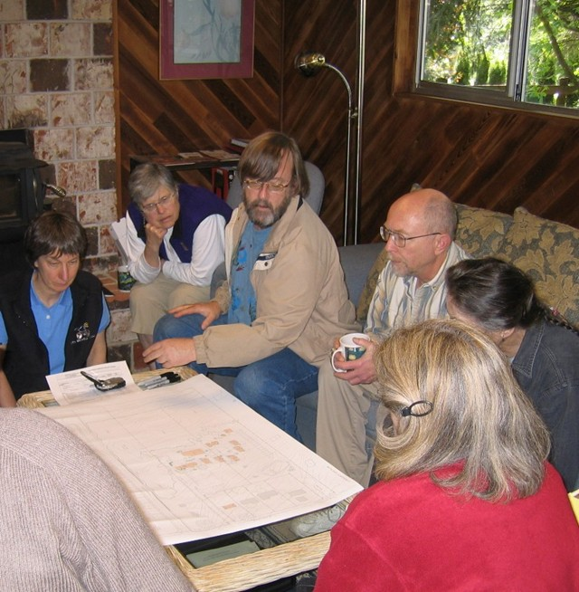 """Some """"Songaia Suitors"""" view early site plans created by an architect member."""